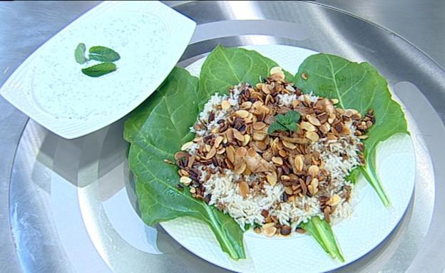 אורז עם בשר, שקדים וצנוברים (צילום: קשת ,מאסטר שף VIP)