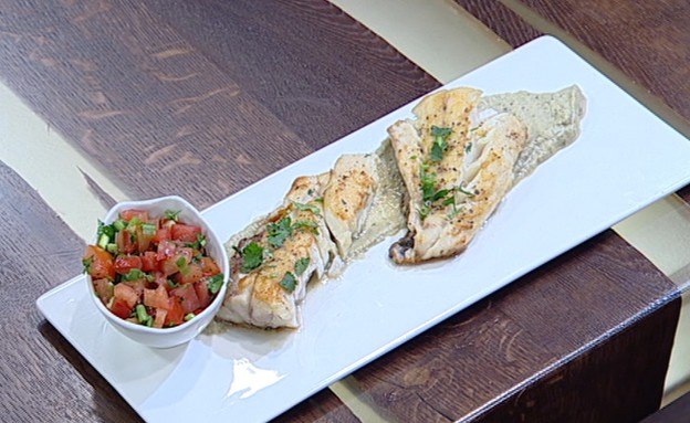 דג בקרם חצילים  (צילום: קשת ,מאסטר שף VIP)