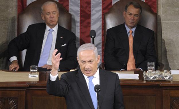 בין המפלגות: ביינר, נתניהו וביידן, ארכיון (צילום: AP)