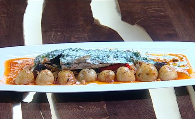 דג דניס עם יוגורט על מצע ירקות (צילום: קשת ,מאסטר שף VIP)