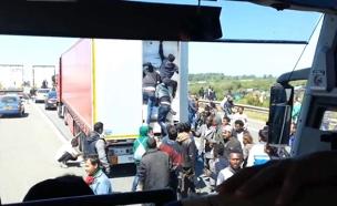 מול המצלמה: מהגרים הסתננו למשאית (צילום: sky news)