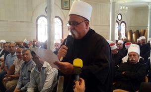 מנהיג העדה השייח' טריף בכנס, היום (צילום: גיא ורון)