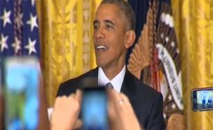 צפו: אובמה משיב לפעילה שהפריעה לו