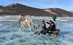 """מצלמת """"גוגל"""" על בנהר שקפא (צילום: גוגל)"""