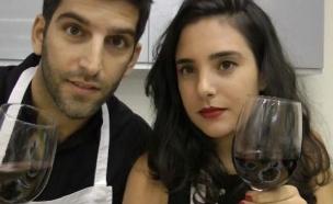 עומר ותמרה בסדנת בישול טבעוני (צילום: מתוך הבילויים ,ערוץ 24)