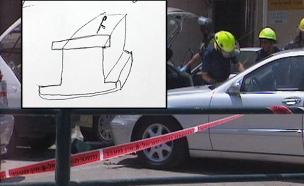 השרטוט של השלט על רקע זירת הפיגוע (צילום: חדשות 2)