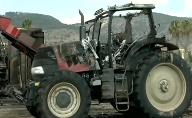 מי מצית טרקטורים בצפון? (צילום: חדשות 2)