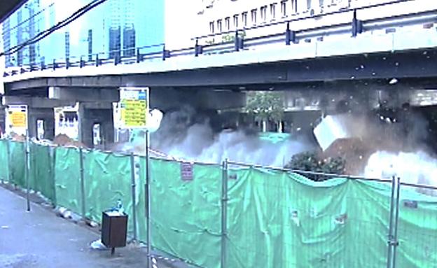 פיצוץ גשר מעריב (צילום: חדשות 2)
