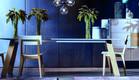 פינת אוכל, שולחן אוכל עם פלטת בטון דקה של רשת (צילום: עופר עמיר)