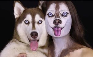 אמנית איפור מתאפרת כמו הכלבה שלה (צילום: צילום מסך ,מעריב לנוער)