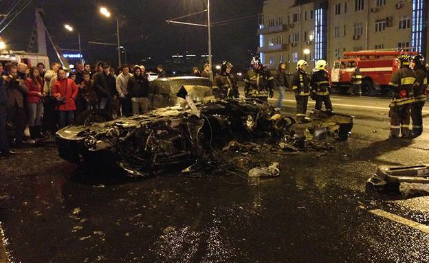 """זירת התאונה, לפי הפרסומים בחו""""ל (תמונת AVI: צילום מסך)"""