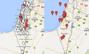 מפת התקיפות - לפני ואחרי