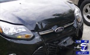 מכונית הפורד שהלשינה על תאונת פגע וברח (צילום: ABC7 New York)