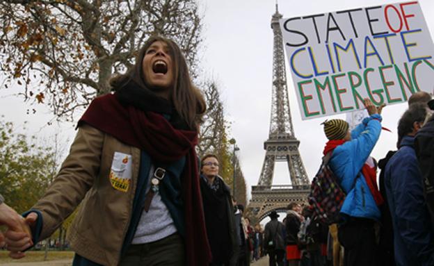 הפגנה בעד ועידת האקלים בפריז (צילום: חדשות 2)