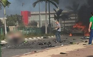 פיצוץ רכב בראשון לציון (צילום: עד ראייה)