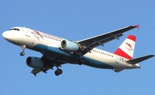 """מטוס """"אוסטריאן אייליינס"""" (צילום: אלעד יוסוב)"""