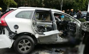 פיצוץ ברכב בתל אביב (צילום: חדשות 2)
