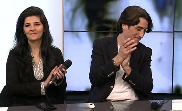 אריק משעלי ואתי לוי שרים במרוקאית   (צילום: הדצים ,ערוץ 24)