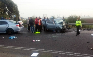 זירת התאונה ליד חיפה, הבוקר (צילום: איחוד והצלה חיפה)