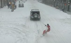 צפו: כך הפכה ניו יורק לאתר סקי ענק (צילום: abc news)
