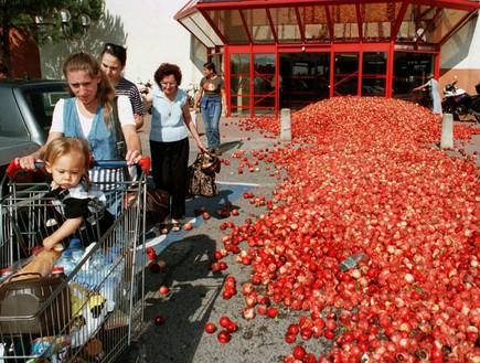 מחאת חקלאים בצרפת (צילום: ap)