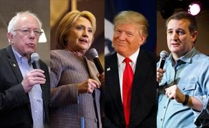 טראמפ, קלינטון, קרוז, סנדרס (צילום: חדשות 2)