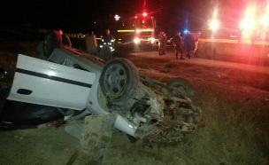 """זירת התאונה, הלילה (צילום: דוברות כבאות והצלה מחוז יו""""ש)"""