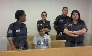 """החשוד ברצח סדרתי בדיון בביהמ""""ש, היום (צילום: חדשות 2)"""