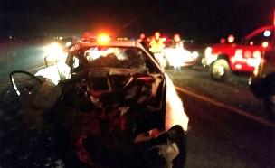 """זירת התאונה בכביש 3, שלשום (צילום: יוסי צמח תיעוד מבצעי מד""""א)"""
