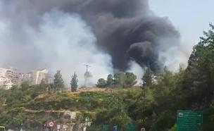 שריפה בגבעת שאול בשוק הסיטונאי (צילום: חדשות 2)