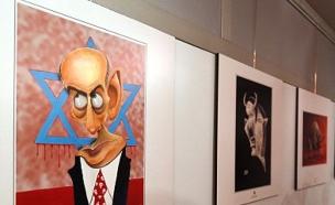 תערוכת קריקטורות על השואה באיראן (צילום: AFP/GettyImages)