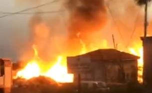 השריפה בטבריה (צילום: חדשות 2)