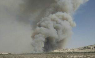 """שריפה ליד גשר אלנבי; אין נפגעים (צילום: דוברות כברות מחוז יו""""ש)"""