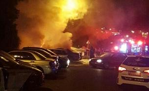 גבר נשרף למוות ברכב בטבריה (צילום: אודי מזרחי, חדשות בזמן)