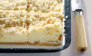 עוגת גבינה אפויה עם שטרויזל (צילום: דן פרץ ,ארקוסטיל)