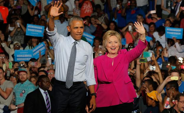 ברק אובמה והילרי קלינטון (צילום: חדשות 2)