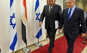 """נתניהו בפגישתו עם שר החוץ המצרי, אמש (צילום: צילום: חיים צח / לע""""מ)"""