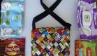 אמניות מיחזור, מירי ישראלי, תיק מאריזות חטיפים ומוצרי ניקוי (צילום: מירי ישראלי)