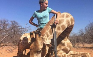 הילדה הציידת אריאנה גורדין והג'ירף שצדה (צילום: מתוך דף הפייסבוק Aryanna Gourdin - Braids and Bows ,פייסבוק)