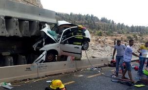 """התאונה אתמול (צילום: דוברות כב""""ה בית שמש)"""