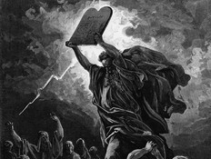 משה שובר את לוחות הברית (גוסטב דורה) (צילום: תחריט: גוסטב דורה ,getty images)