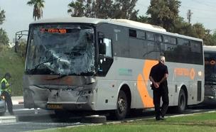 """זירת התאונה בת""""א (צילום: בן מיטלמן, חדשות 2)"""