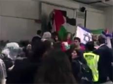 צפו: מהומות בקמפוס הלונדוני (צילום: Standwithus)