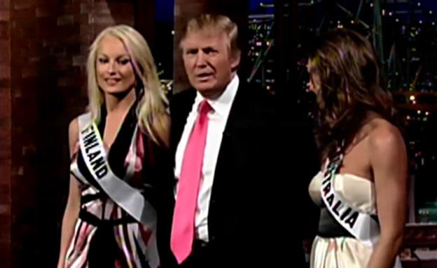 טראמפ ומיס פינלנד לשעבר (צילום: תוכנית של דיוויד לטרמן)