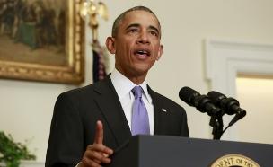 """נשיא ארה""""ב, ברק אובמה בנאום בבית הלבן (צילום: חדשות 2)"""