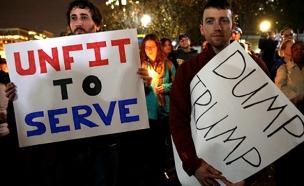 מפגינים נגד טראמפ, השבוע (צילום: רויטרס)