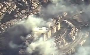 צילום אווירי של השריפה בחיפה (צילום: חדשות 2)