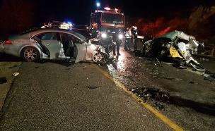 """זירת התאונה בכביש 79 (צילום: איתי מזור, תיעוד מבצעי - מד""""א)"""