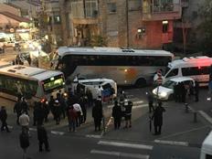 תאונת שרשרת בירושלים (צילום: דיווחי הרגע)