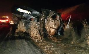 התאונה בדרום, הלילה (צילום: משטרה)